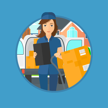 troley: Delivery woman with cardboard boxes on troley. Delivery woman with clipboard. Delivery woman standing in front of delivery van. Vector flat design illustration in the circle isolated on background. Illustration