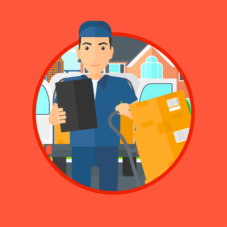 troley: Delivery man with cardboard boxes on troley. Delivery man with clipboard. Delivery man standing in front of delivery van. Vector flat design illustration in the circle isolated on background.