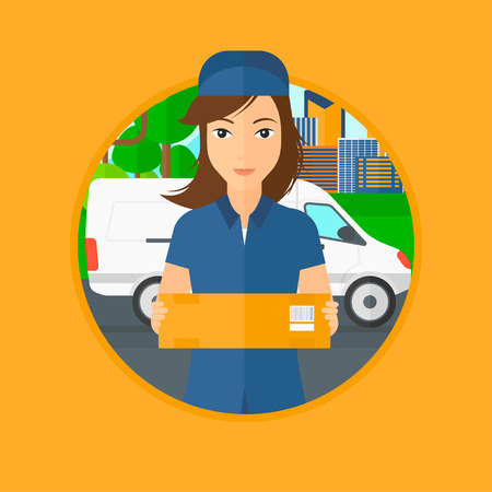 delivering: Delivery woman with a cardboard box standing on background of delivery truck. Delivery woman with a cardboard box in her hands. Vector flat design illustration in the circle isolated on background. Illustration