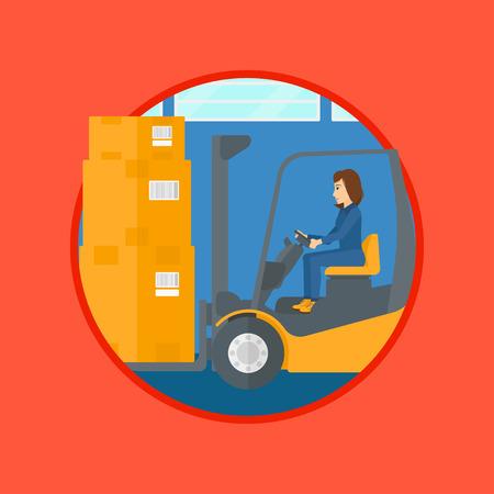 warehouse worker: Warehouse worker loading cardboard boxes. Forklift driver at work in storehouse. Warehouse worker driving forklift at warehouse. Vector flat design illustration in the circle isolated on background. Illustration