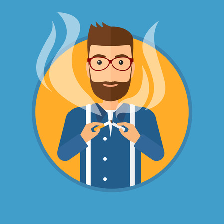 crushing: A hipster man with the beard breaking the cigarette. Man crushing cigarette. Man holding broken cigarette. Quit smoking concept. Vector flat design illustration in the circle isolated on background.