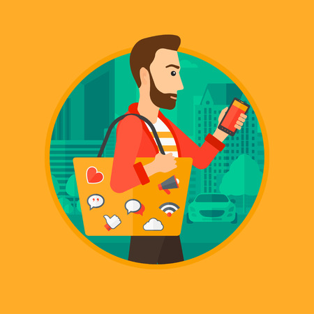 using smart phone: Hipster man with the beard walking with smartphone and handbag full of social media icons. Man using smartphone in the city street.Vector flat design illustration in the circle isolated on background.