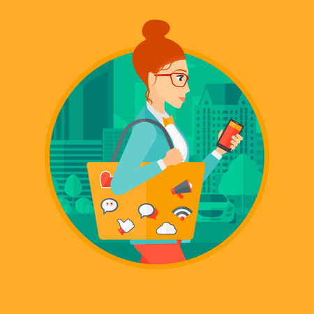 smart phone woman: Woman walking with smartphone and bag full of social media icons. Woman using smartphone in the city street. Smartphone addiction. Vector flat design illustration in the circle isolated on background.