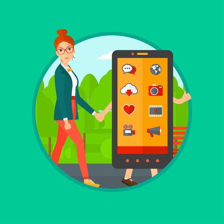 woman smartphone: Young woman walking with a big smartphone. Woman and a big smartphone in the park. Woman holding the hand of smartphone. Vector flat design illustration in the circle isolated on background.