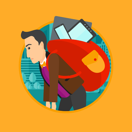 electronic devices: Man walking with backpack full of different devices. Man walking with many devices in the city. Man with many electronic devices. Vector flat design illustration in the circle isolated on background.