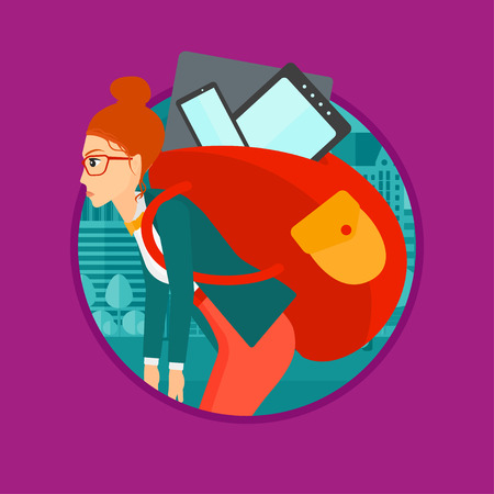 electronic devices: Young woman walking with backpack full of different devices. Woman walking with many electronic devices in the city street. Vector flat design illustration in the circle isolated on background. Illustration