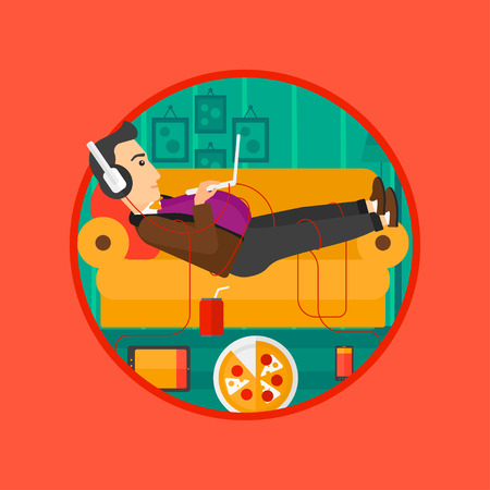 technologic: Man with belly relaxing on a sofa with many gadgets. Man lying on a sofa surrounded by gadgets. Man using gadgets at home. Vector flat design illustration in the circle isolated on background.