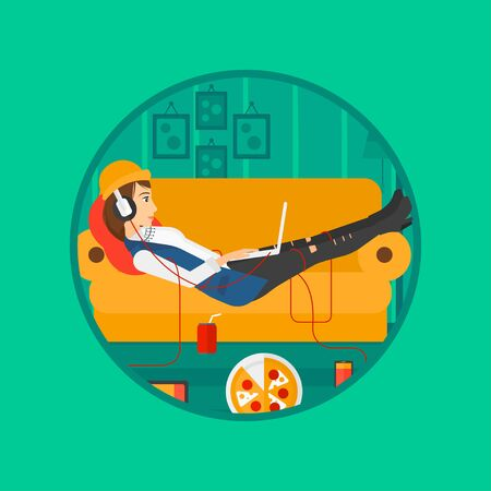 technologic: Woman relaxing on a sofa with many gadgets. Woman lying on sofa surrounded by gadgets and fast food. Woman using gadgets at home. Vector flat design illustration in the circle isolated on background.