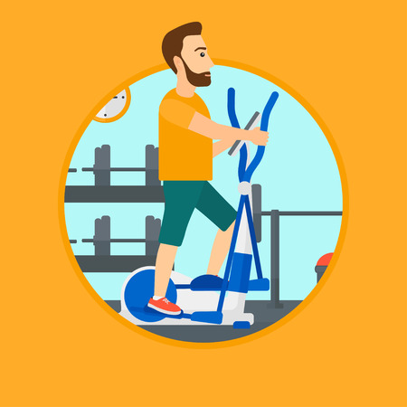 man working out: Hipster man exercising on elliptical trainer. Man working out using elliptical trainer at the gym. Man using elliptical trainer. Vector flat design illustration in the circle isolated on background. Illustration