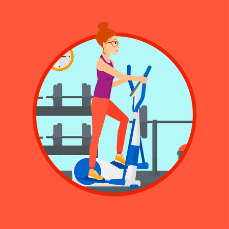 Woman exercising on an elliptical trainer. Woman working out using elliptical trainer at the gym. Woman using elliptical trainer. Vector flat design illustration in the circle isolated on background. Ilustracja