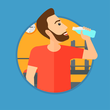 sportive: Sportive hipster man with the beard drinking water. Man with bottle of water in the gym. Sportsman drinking water from the bottle. Vector flat design illustration in the circle isolated on background.