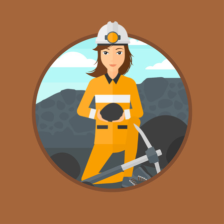 miner: A female miner sitting with coal in the hands. Miner with a pickaxe at coal mine. Miner working at coal mine. Vector flat design illustration in the circle isolated on background. Illustration