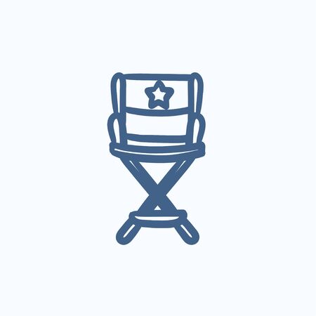 director chair: Director chair vector sketch icon isolated on background. Hand drawn Director chair icon. Director chair sketch icon for infographic, website or app.