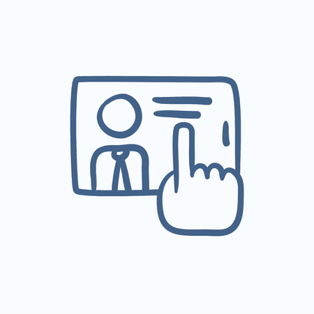 touching: Hand touching screen vector sketch icon isolated on background. Hand drawn Hand touching screen icon. Hand touching screen sketch icon for infographic, website or app.