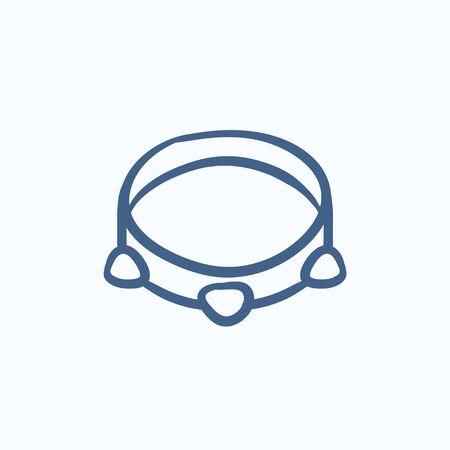 pandero: Pandereta dibujo icono del vector aislado en el fondo. Dibujado a mano icono de la pandereta. dibujo icono de la pandereta de infografía, sitio web o aplicación.