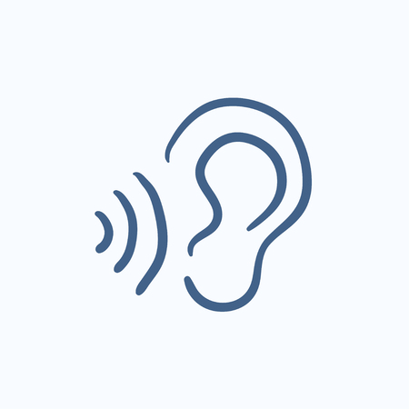 earing: Ear and sound waves vector sketch icon isolated on background. Hand drawn Ear and sound waves icon. Ear and sound waves sketch icon for infographic, website or app.