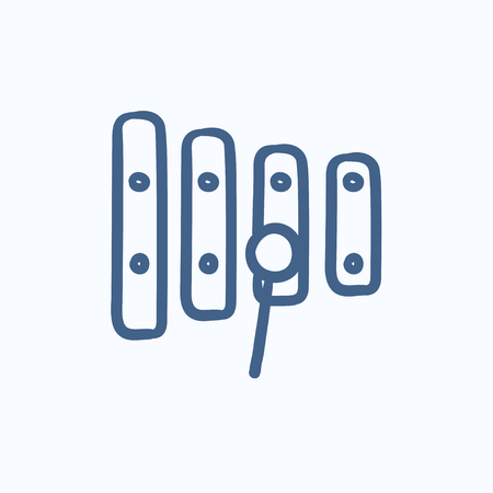 mallet: Xylophone with mallet vector sketch icon isolated on background. Hand drawn Xylophone with mallet icon. Xylophone with mallet sketch icon for infographic, website or app.
