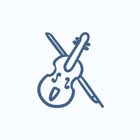 fiddlestick: Violin with bow vector sketch icon isolated on background. Hand drawn Violin with bow icon. Violin with bow sketch icon for infographic, website or app.