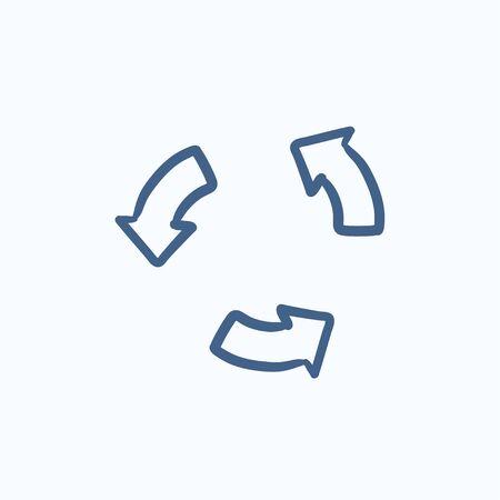 재생 버튼 벡터 스케치 아이콘 배경에 고립. 손으로 그린 재생 단추 아이콘입니다. 인포 그래픽, 웹 사이트 또는 앱의 재생 버튼 스케치 아이콘.