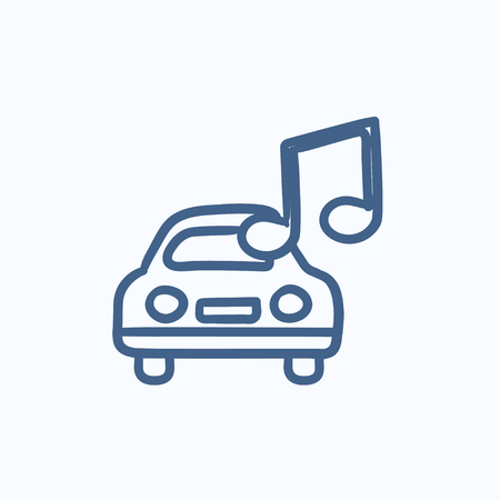 Car with music note vector sketch icon isolated on background. Hand drawn Car with music note icon. Car with music note sketch icon for infographic, website or app. Ilustração