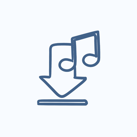 webshop: Download music vector sketch icon isolated on background. Hand drawn Download music icon. Download music sketch icon for infographic, website or app. Illustration