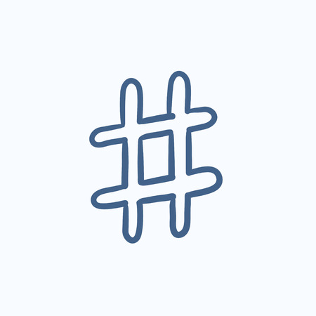 microblogging: Hashtag symbol vector sketch icon isolated on background. Hand drawn Hashtag symbol icon. Hashtag symbol sketch icon for infographic, website or app. Illustration