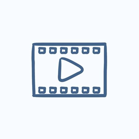 film frame: Film frame vector sketch icon isolated on background. Hand drawn Film frame icon. Film frame sketch icon for infographic, website or app.