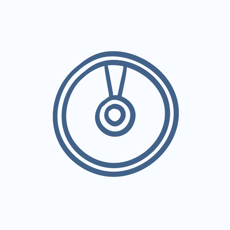 Disc vector sketch icon isolated on background. Hand drawn Disc icon. Disc sketch icon for infographic, website or app.