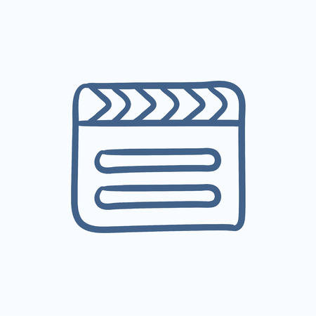 clapboard: Clapboard vector sketch icon isolated on background. Hand drawn Clapboard icon. Clapboard sketch icon for infographic, website or app.