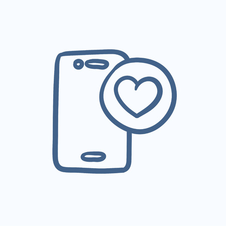 smartphone hand: Smartphone with heart sign vector sketch icon isolated on background. Hand drawn Smartphone with heart sign icon. Smartphone with heart sign sketch icon for infographic, website or app.