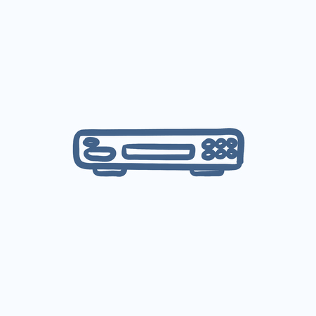 Video recorder vector sketch icon isolated on background. Hand drawn Video recorder icon. Video recorder sketch icon for infographic, website or app.