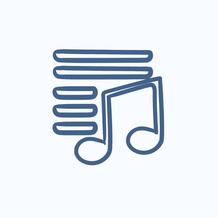 melodious: Musical note vector sketch icon isolated on background. Hand drawn Musical note icon. Musical note sketch icon for infographic, website or app.