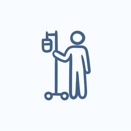 iv: Patient and intravenous dropper vector sketch icon isolated on background. Hand drawn Patient and intravenous dropper icon. Patient and intravenous dropper sketch icon for infographic, website or app. Illustration