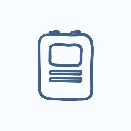 Heart defibrillator vector sketch icon isolated on background. Hand drawn Heart defibrillator icon. Heart defibrillator sketch icon for infographic, website or app. Illustration