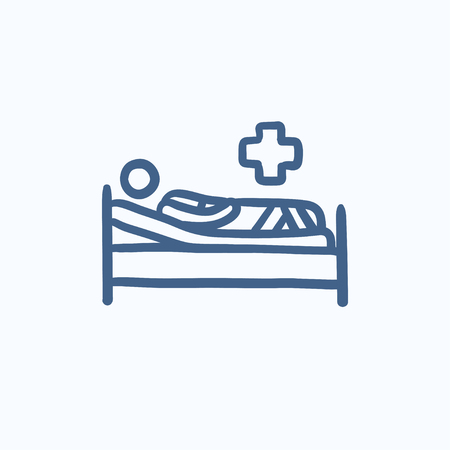 lying on bed: Patient lying on bed vector sketch icon isolated on background. Hand drawn Patient lying on bed icon. Patient lying on bed sketch icon for infographic, website or app.