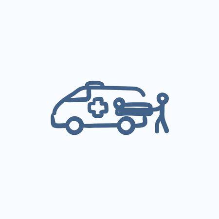 paciente en camilla: Hombre que empuja la camilla con el paciente en ambulancia dibujo icono del vector del coche aislado en el fondo. dibujado a mano icono de coche de la ambulancia. Coche de la ambulancia y el icono de boceto paciente para la infografía, sitio web o aplicación.