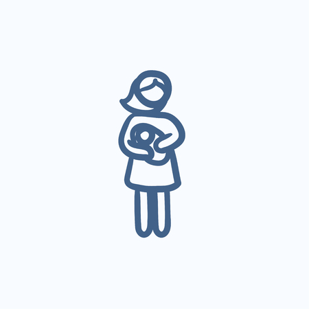 obstetrician: Woman holding baby vector sketch icon isolated on background. Hand drawn Woman holding baby icon. Woman holding baby sketch icon for infographic, website or app.