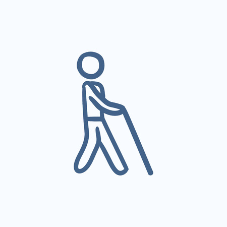 stick man: Blind man with stick vector sketch icon isolated on background. Hand drawn Blind man with stick icon. Blind man with stick sketch icon for infographic, website or app. Illustration