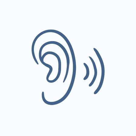 인간의 귀 벡터 스케치 아이콘 배경에 고립입니다. 손은 인간의 귀 아이콘을 그려. 인포 그래픽, 웹 사이트 또는 앱에 대한 인간의 귀 스케치 아이콘입