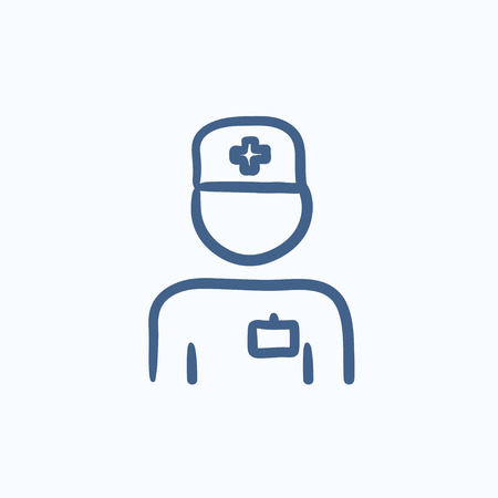 medico: Nurse vector sketch icon isolated on background. Hand drawn Nurse icon. Nurse sketch icon for infographic, website or app. Illustration