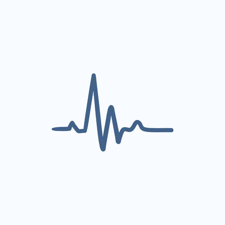 heart ekg trace: Heart beat cardiogram vector sketch icon isolated on background. Hand drawn Heart beat cardiogram icon. Heart beat cardiogram sketch icon for infographic, website or app. Illustration