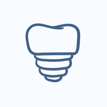 implanted: Tooth implant vector sketch icon isolated on background. Hand drawn Tooth implant icon. Tooth implant sketch icon for infographic, website or app. Illustration
