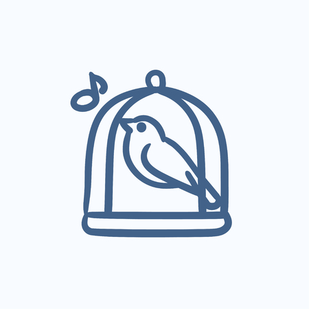 prison house: Bird singing in cage vector sketch icon isolated on background. Hand drawn Bird singing in cage icon. Bird singing in cage sketch icon for infographic, website or app. Illustration