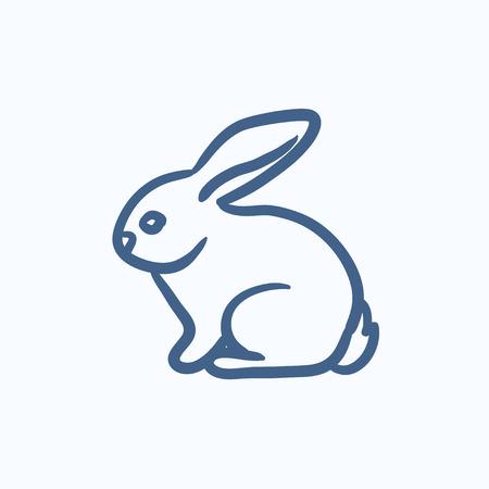 vecteur de lapin esquisse icône isolé sur fond. Hand drawn Lapin icône. Lapin icône esquisse pour infographie, site Web ou application.