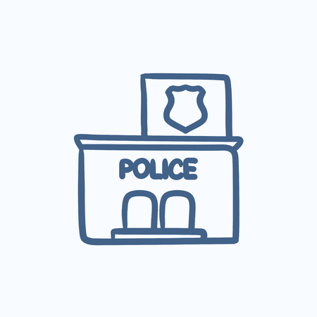 police station: Police station vector sketch icon isolated on background. Hand drawn Police station icon. Police station sketch icon for infographic, website or app.