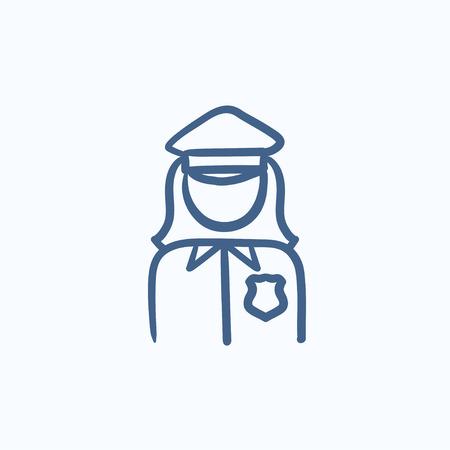 mujer policia: Mujer policía dibujo icono del vector aislado en el fondo. Dibujado a mano icono de la mujer policía. dibujo icono de la policía para la infografía, sitio web o aplicación.