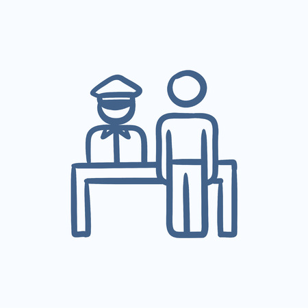 airport security: Airport security vector sketch icon isolated on background. Hand drawn Airport security icon. Airport security sketch icon for infographic, website or app.