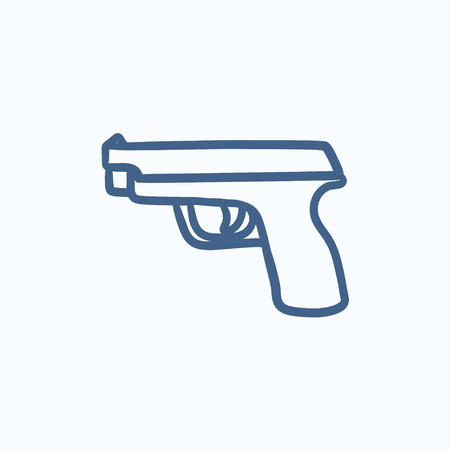 handgun: Handgun vector sketch icon isolated on background. Hand drawn Handgun icon. Handgun sketch icon for infographic, website or app. Illustration