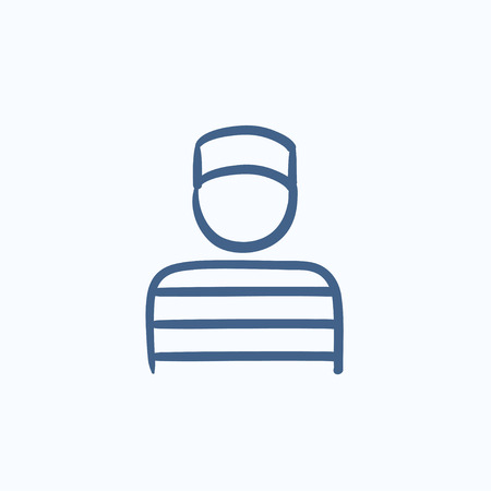 incarcerated: Prisoner vector sketch icon isolated on background. Hand drawn Prisoner icon. Prisoner sketch icon for infographic, website or app. Illustration