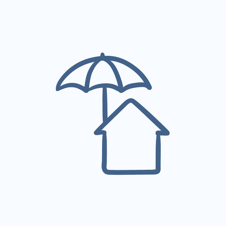 belay: House under umbrella vector sketch icon isolated on background. Hand drawn House under umbrella icon. House under umbrella sketch icon for infographic, website or app. Illustration